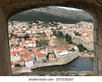 See through the window background old town Dubrovnik