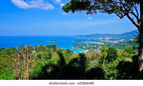 See View of Kata Noi, Kata Yai and Karon Beaches at Karon Viewpoint (Kata Viewpoint or Sam Ao Viewpoint),Famous Viewpoint in Phuket