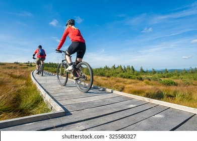 SEEBACH, GERMANY - SEPTEMBER 06, 2009: Scenery and cyclist at the Hornisgrinde educational trail, Seebach, Black Forest, Baden-Wurttemberg, Germany, Europe