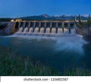 Seebe Hydroelectric Dam near Exshaw, Canada at night