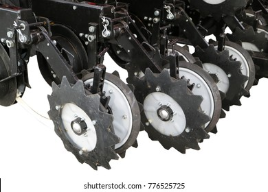 Seed drill. Precision sowing machine.  row seeder. The lower part is isolated on white.