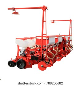 Seed drill. Precision sowing machine.  Row planter. Trailer. Isolated on white.