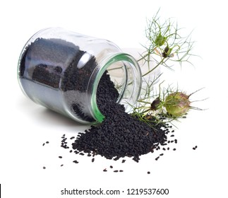 Seed of Nigella sativa or fennel flower, nutmeg flower, black caraway, Roman coriander, black cumin, blackseed, black caraway, Bunium persicum. Isolated.