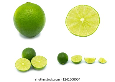 seedless lime set isolated on white background.