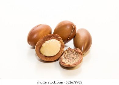 Seeds of argan oil, with interior detail