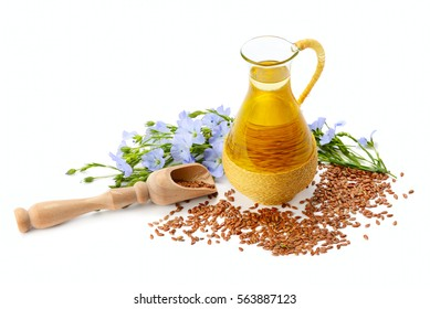 seeds, flax oil and flowers isolated on white background