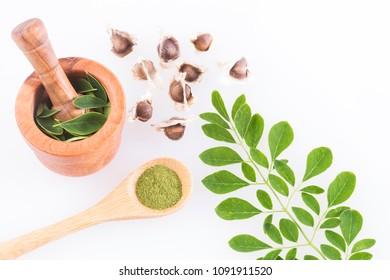 Seeds, leaves and moringa powder - Moringa oleifera
