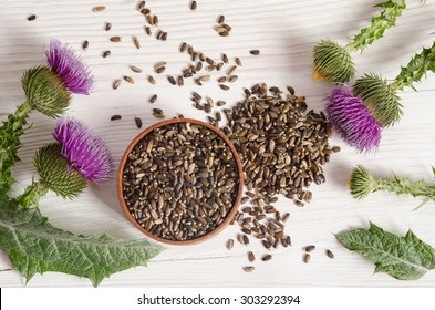 Seeds of a milk thistle with flower (Silybum marianum, Scotch Thistle, Marian thistle ) on wooden table