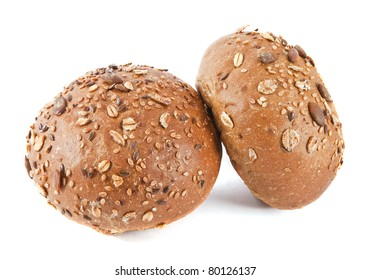 Seeds roll. Two buns on the white background