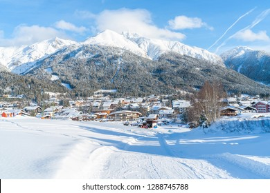 SEEFELD, AUSTRIA - JANUARY 12, 2019: Seefeld in Tirol located about 17 km from Innsbruck is one of  the most popular tourist resorts in Austria well known for it's winter sports centres