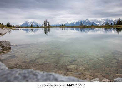 Seefeld tirol,austria kaltwassersee mountains and lake reflection