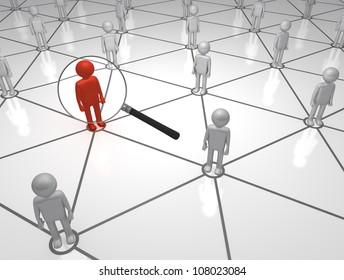 Seeking the Man on the Net 3D magnifying Glass man in a Network
