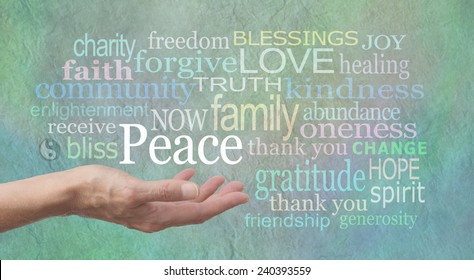 Seeking World Peace - female hand outstretched palm up with the word 'Peace' above surrounded by a word cloud of relevant words on a jade blue colored stone effect background