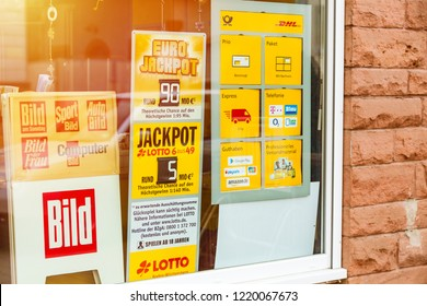 Seelbach, Baden-Wuerttemberg, BW / Germany - October 31, 2018: Logo, sign of German Lotto. It is known as Lotto 6aus49, country's national lottery game gives chance to win multi-million euro jackpot