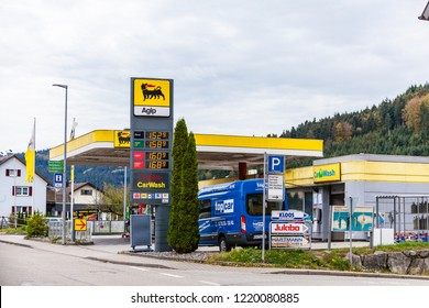 Seelbach, Baden-Wuerttemberg, BW / Germany - October 31, 2018: AGIP fuel, gas station. Current diesel, petrol prices. AGIP is an italian oil company and has been a subsidiary of petroleum company Eni