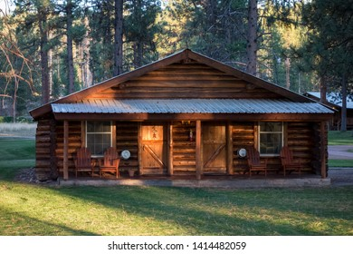 SEELEY LAKE, MONTANA/USA - SEPTEMBER 20 : Evening sunshine on a wooden chalet at Seeley Lake Missoula County in Montana on September 20, 2013