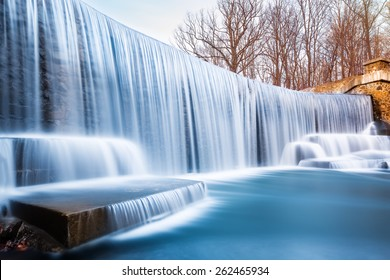 Seeley's Pond waterfall, in New Jersey. A very long exposure and the natural motion blur creates an artistic smooth and silky effect on the falling water.