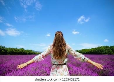 Seen from behind stylish woman in summer dress in lavender field in Provence, France rejoicing. healthy living on country side. escape from urban worries. Summer agritourism on south region of France