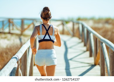 Seen from behind young woman jogger in sport clothes on the seashore running. community motivated 30 something years old female entrepreneur take trip to seashore to have running workout