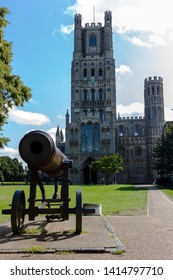 Seen in front of the West Tower of Ely Cathedral, the Russian Cannon captured during the Crimean War which was presented to the people of Ely by Queen Victoria in 1860.