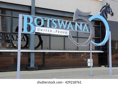 Seen in Gaborone the logo of Botswana's 50th anniversary of independence in August 2016. May 29th 2016.