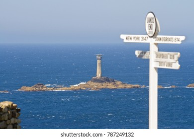 Seen from Lands' End in Cornwall, the Longships Lighthouse, with the Isles of Scilly just twenty eight miles away, and beyond that, North America.