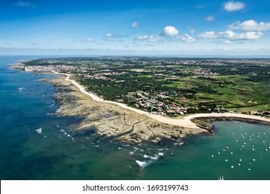 Saint-Pierre-d'Oléron vu du ciel, commune de l'île d'Oléron , dans le département de la Charente-Maritime, dans la région Poitou-charentes, France, Europe