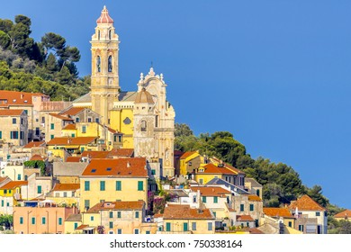 Seen from the top of San Bartolomeo al Mare and Cervo, two villages on the Ligurian coast in the province of Imperia, Liguria, Italy. Mountains, sea, woods and beaches in the same area. Summer resorts