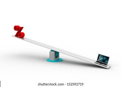 seesaw with the computer and percentage sign, isolated on white background