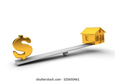 seesaw golden house and dollar sign in the balance. 3d render