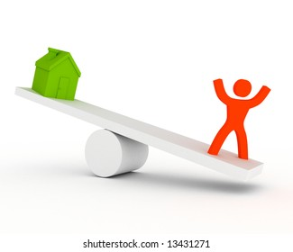 a seesaw with house