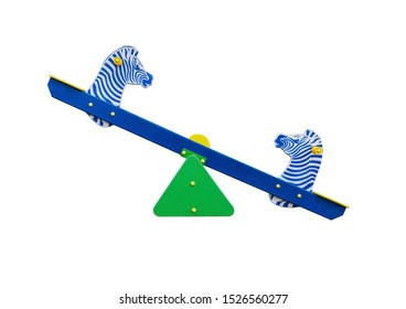 Seesaw in shape of zebras for playground. Isolated on white background