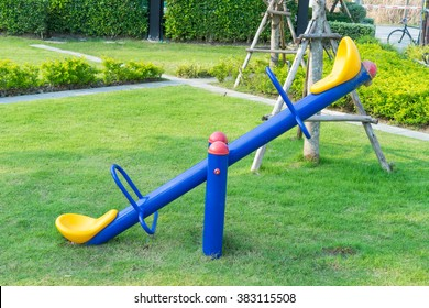 Seesaw or teeter-totter in playground