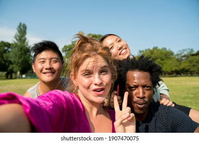 Seflie photo of a happy group of multiethnic friends outdoors on a sunny day in a park.