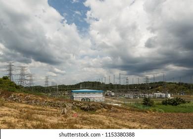 "Segaliud, Sabah, Malaysia - April 23 2015: ""Segaliud SESB PMU"" - Main power substation (Pencawang Masuk Utama) of SESB; built for stabilising the east power grid of Sabah"