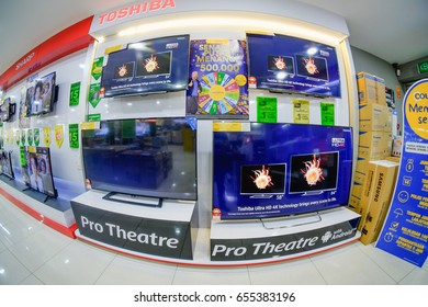 Segamat,Malaysia - June 4,2017:Sharp and Toshiba TV display at The Court in Segamat, Malaysia. Courts (Malaysia) Sdn Bhd  has been listed on the Mainboard of the Singapore Exchange since October 2012.