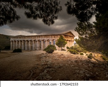 Segesta, Sicily, Italy - July 9, 2020: Doric Temple and landscape of Segesta in Sicily, Italy