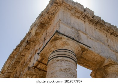 Segesta, Trapani/Italy-August 30, 2020:The Temple of Segesta is an  example of Doric Order architecture, the oldest of the three Greek styles. The columns are tapered and topped with a simple,convex