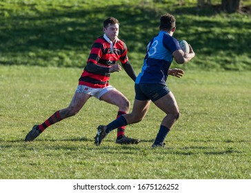 SEGHILL, NORTHUMBERLAND. ENGLAND. FEBRUARY 29, 2020. Rugby match between Seghill and Yarm. At Seghill rugby ground. February 29, 2020. Seghill, Northumberland, England, UK,
