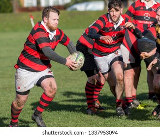 SEGHILL, NORTHUMBERLAND, ENGLAND, MARCH 9, 2019. Image from the Durham/Northumberland Division Three Rugby Match between Seghill and Jarrovians. March 9, 2019, Seghill, Northumberland, England, UK.