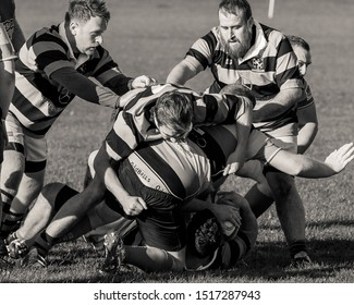 SEGHILL, NORTHUMBERLAND. ENGLAND. SEPTEMBER 28, 2019. League Rugby Game between Seghill and South Shields. September 28, 2019. Seghill, Northumberland, England, UK.