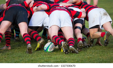 SEGHILL, nORTHUMBERLAND, ENGLAND, UK. FEBRUARY 16, 2019. Rugby. Image from Durham/Northumberland Division 3, Rugby Match between Seghill and Yarm. February 16, 2019, Seghill, Northumberland, England.