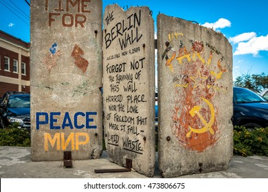 A segment of the Berlin Wall located in Long Wharf, Portland, Maine