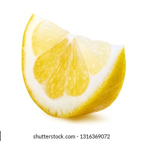 Segment of lemon isolated on white background. Clipping path