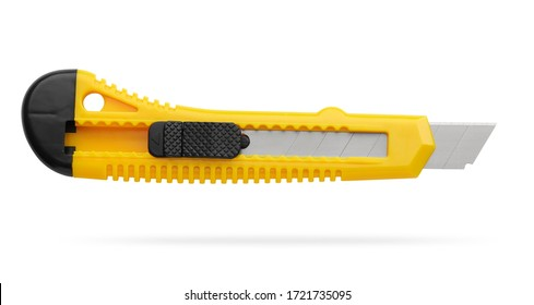 Segmented blade or snap-off blade utility knife isolated on white with clipping path