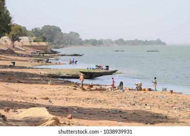 Segou, Mali - December, 27, 2014: Life along Niger river