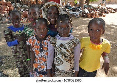Segou, Mali - December, 28, 2014: A crowd of african children in a village of Segou region