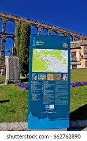 Segovia, Castile and Leon, Spain - March 16, 2017 - Tourist information and sightseeing map of Segovia