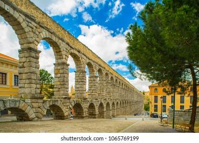 Segovia city scape, aqueduct.