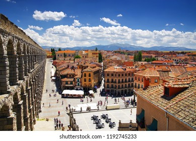 SEGOVIA, MADRIS, SPAIN - JULY 24, 2018: Architecture of Segovia medieval cuty, Spain, Europe
